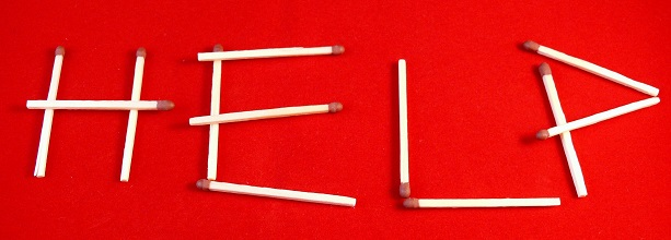 Help written in matchsticks