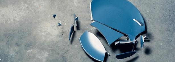 broken blue plate