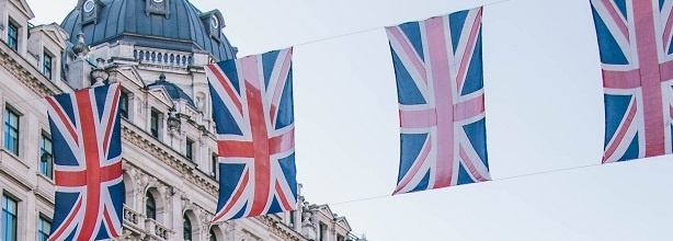 union jacks hanging from building